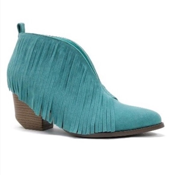 cc2649812 Beast Shoes | Turquoise V Fringe Booties Ankle Suede | Poshmark